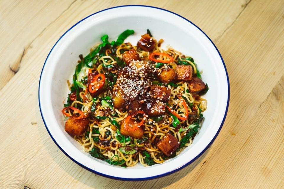 peanut glazed swede noodles