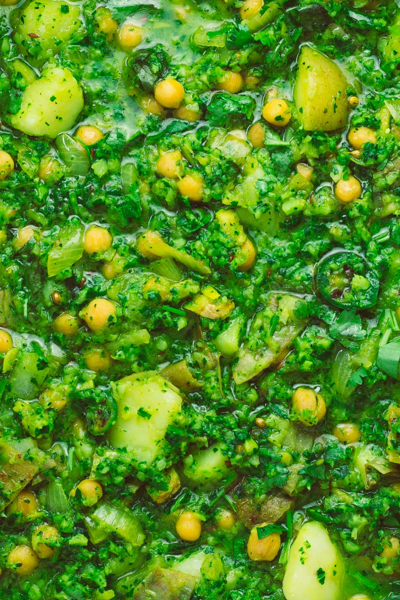 spring greens and broccoli saag zoomed