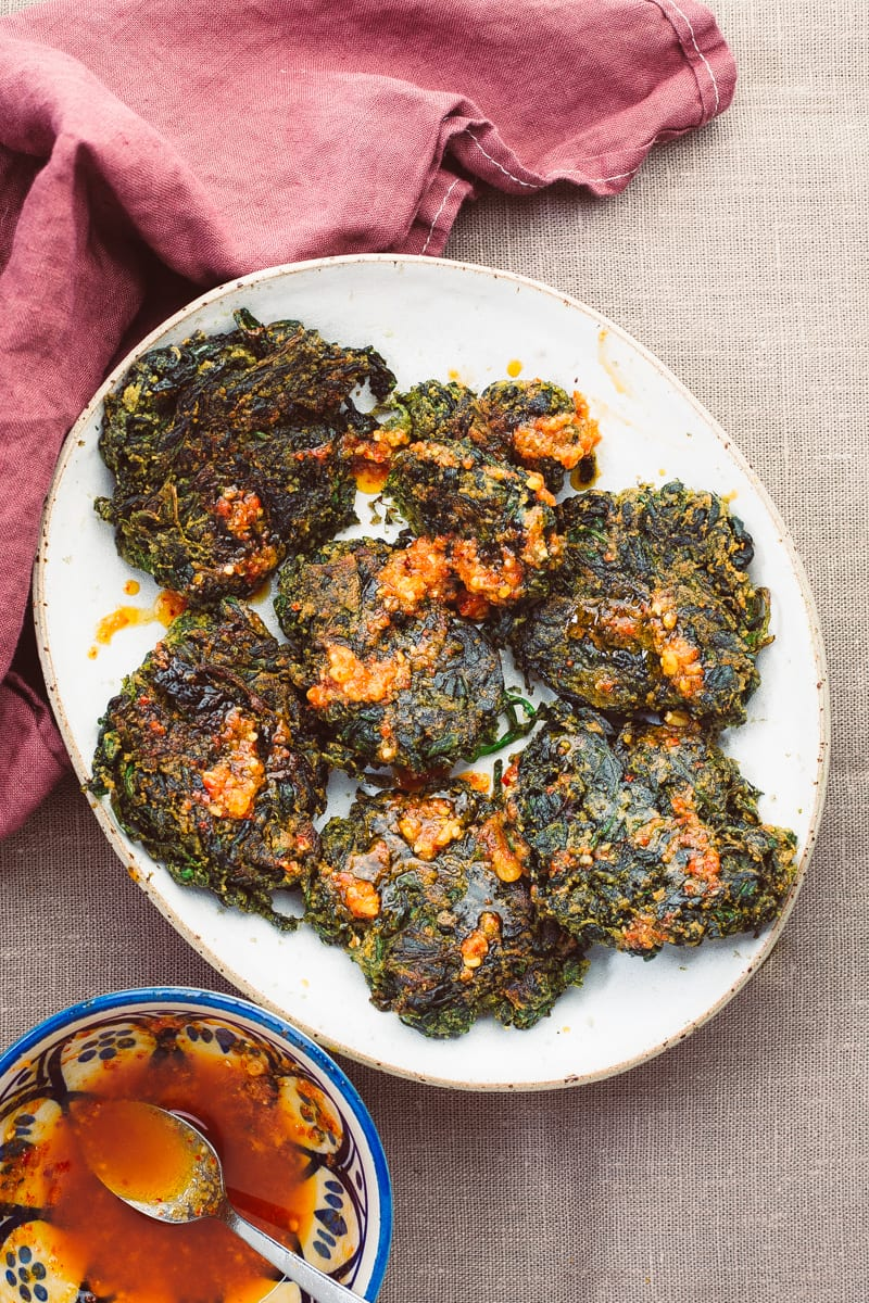 spinach fritters portrait