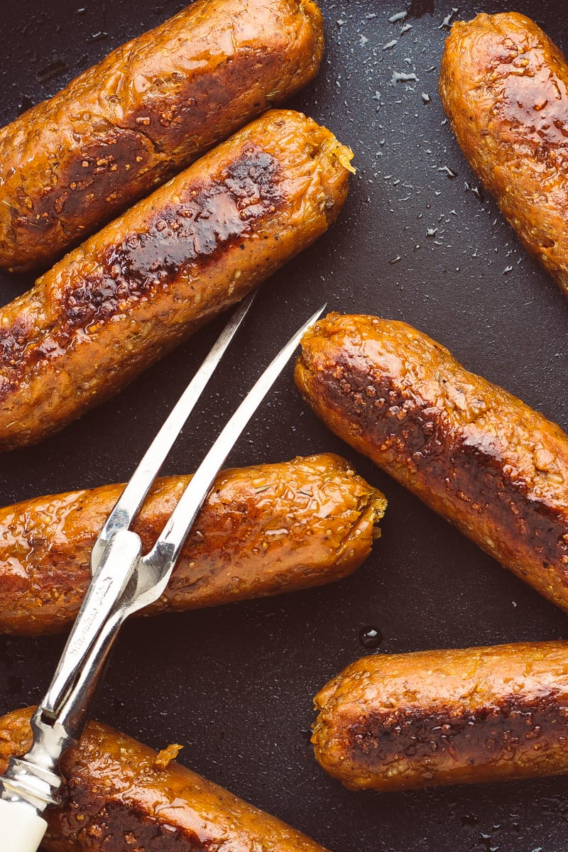 homemade seitan sausages zoomed