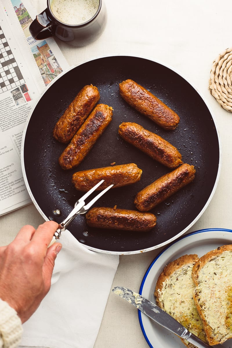 homemade seitan sausages fork