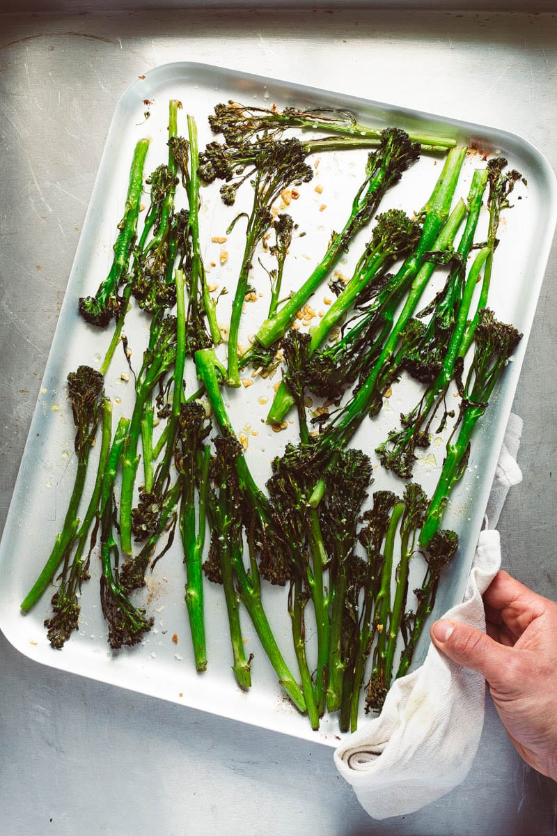 roast tenderstem broccoli on baking tray