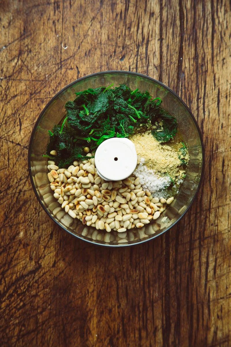 vegan nettle pesto ingredients