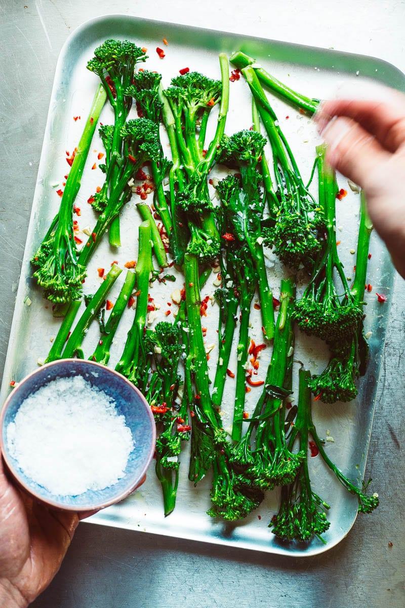 salting tenderstem broccoli