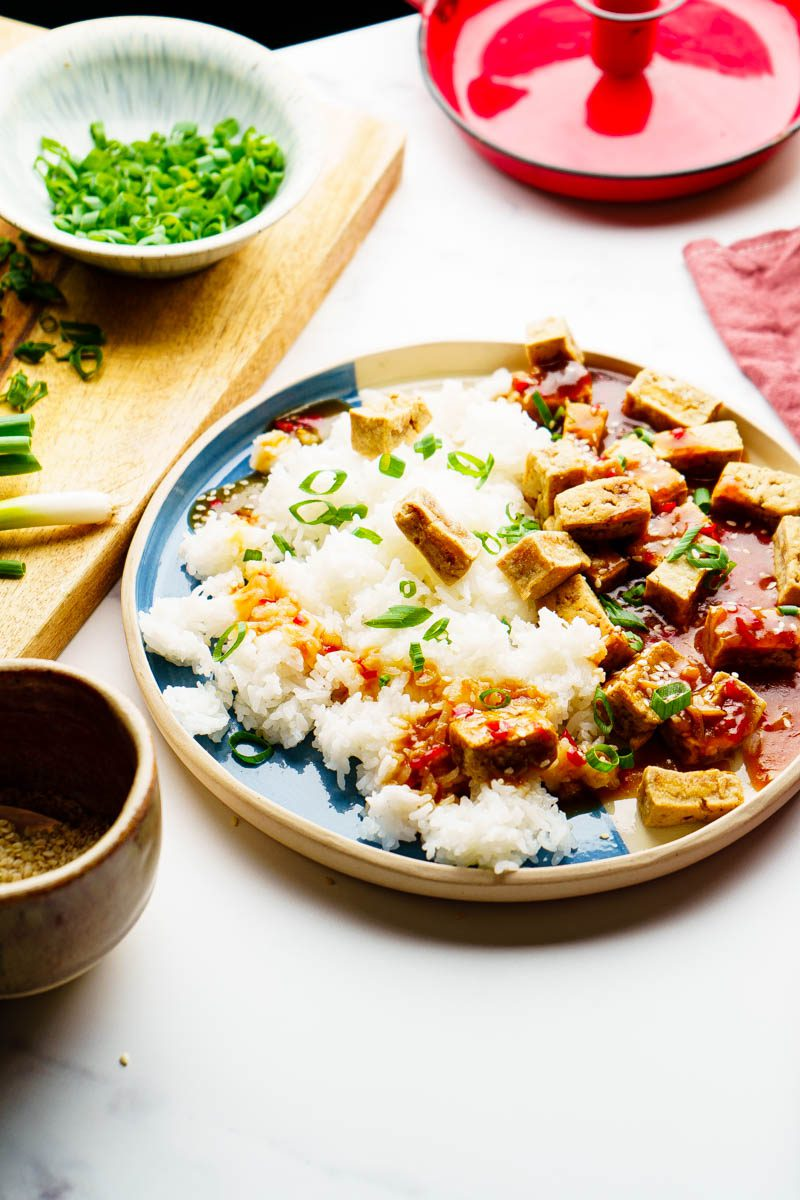 sweet and sour tofu on table