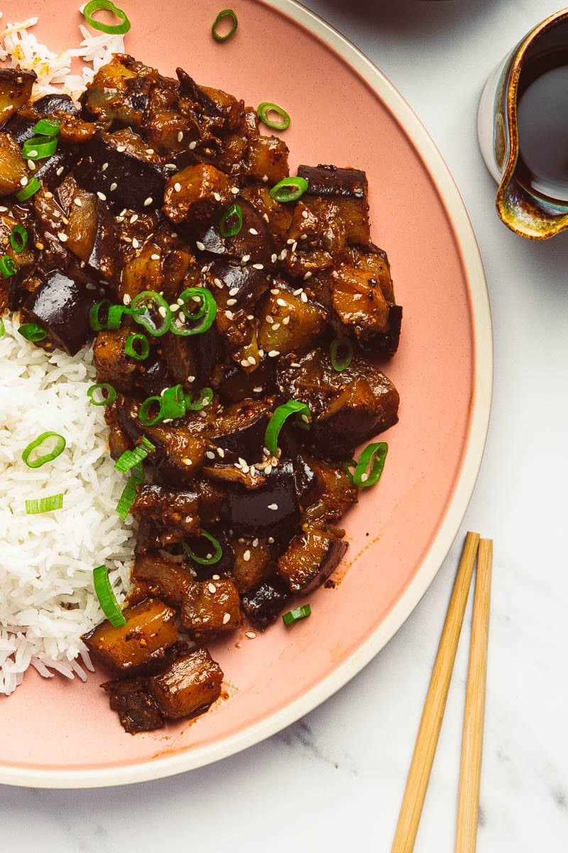 fried aubergine with black pepper and miso plate
