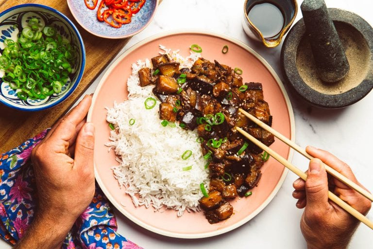 fried aubergine with black pepper and miso