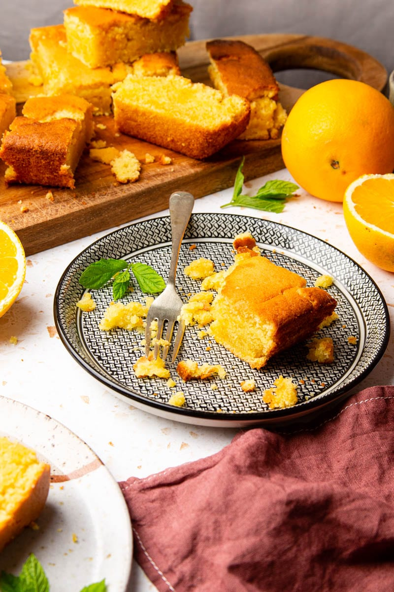 orange cake on plate portrait