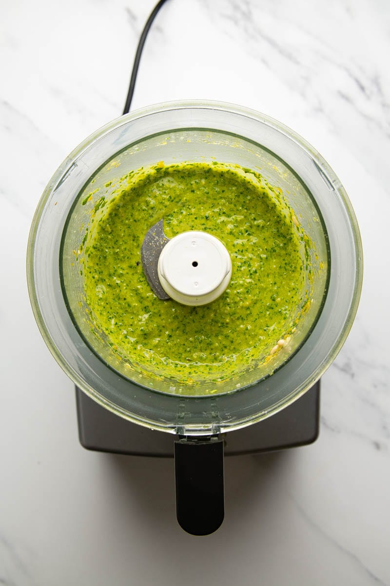 finished pesto in food processor